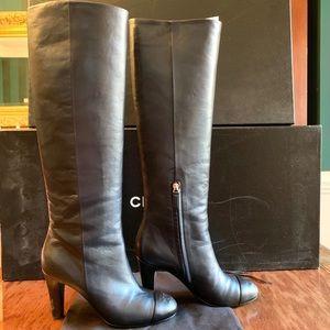 CHANEL Cap toe CC Heel Boots Size 39